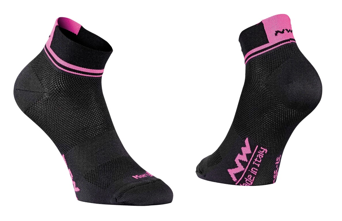 Calze Ciclismo Northwave Logo 2 Woman Socks BLACK-PINK FLUO