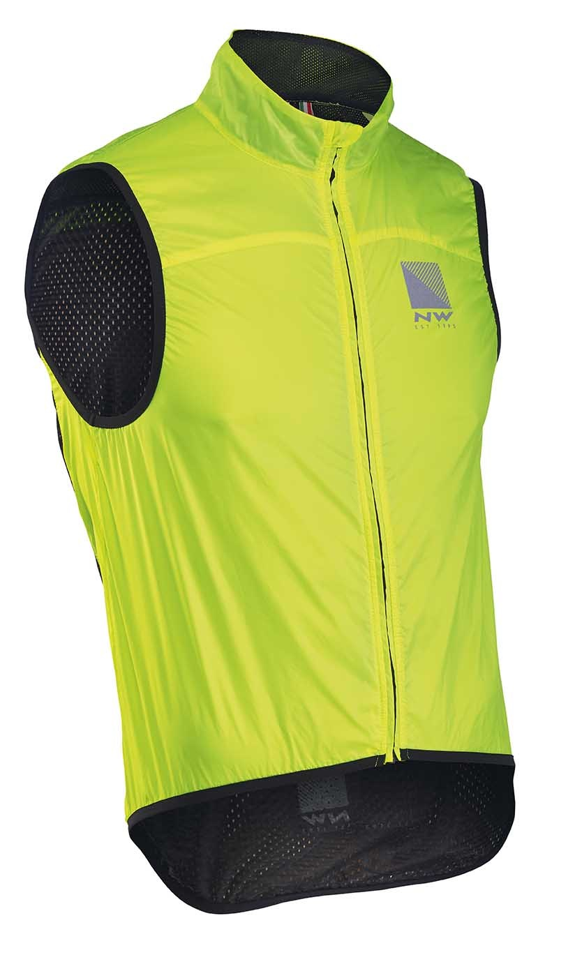 Gilet Resistente alla Pioggia Ciclismo Northwave Breeze 2 Vest With Mesh YELLOW FLUO