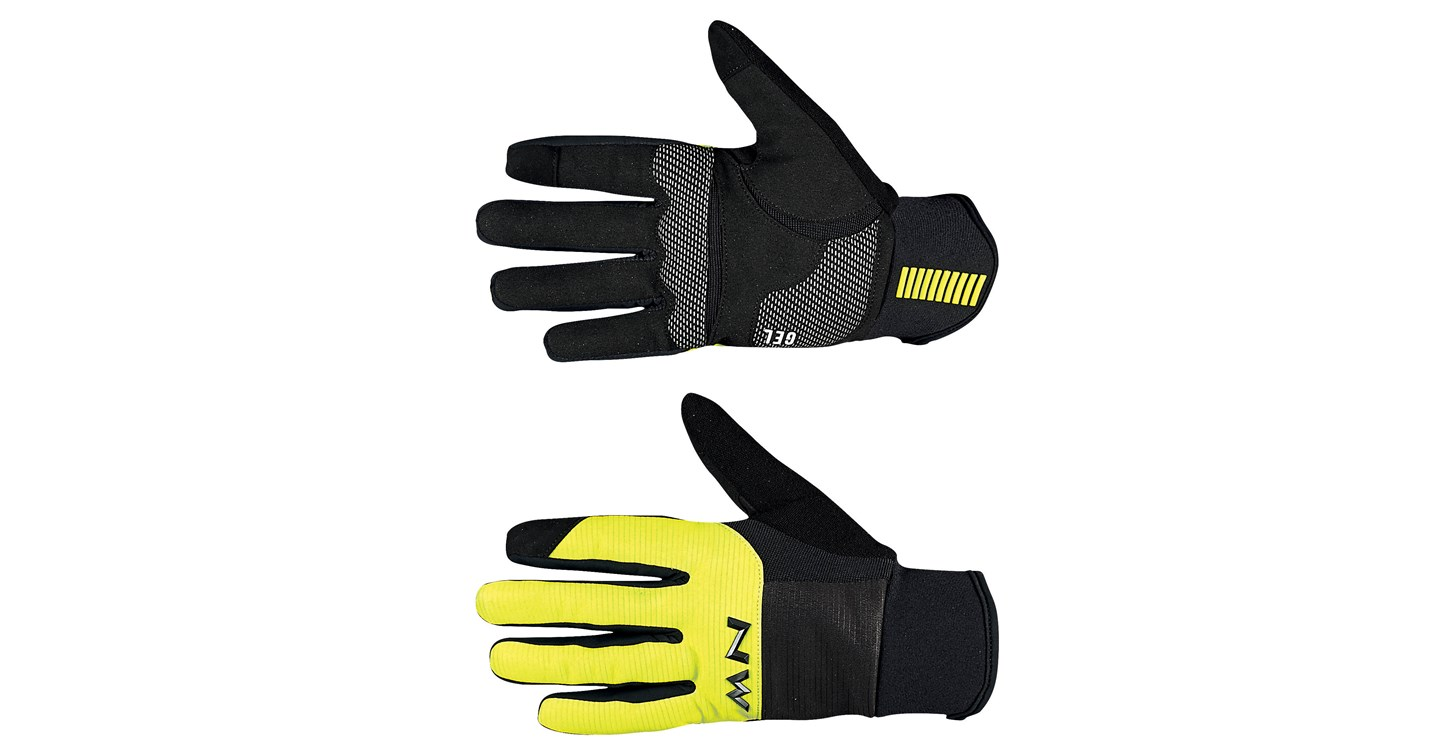 Guanti Ciclismo Northwave Power 3 Full Gloves Gel Pad BLACK-YELLOW FLUO