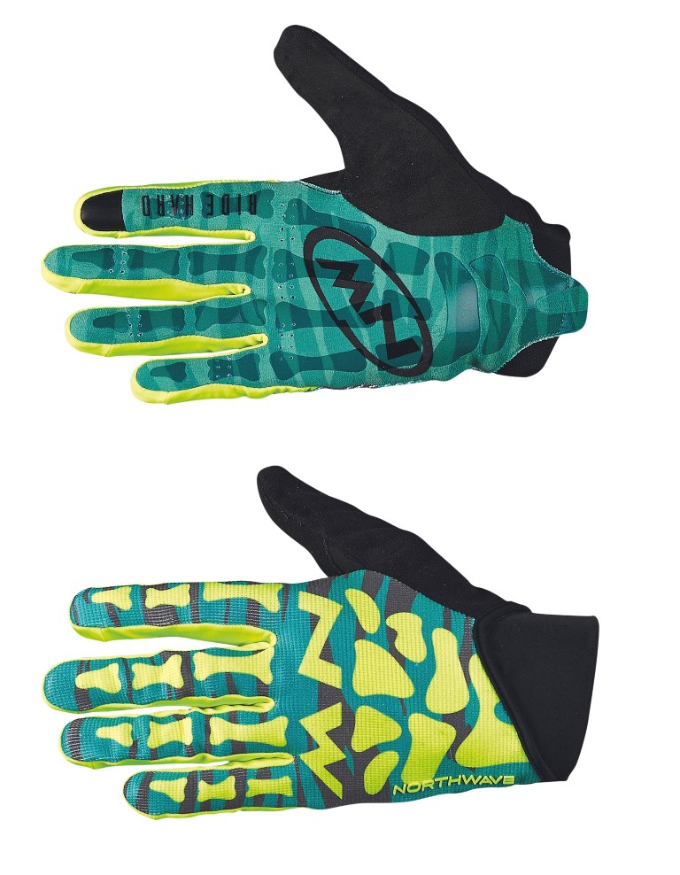 Guanti Ciclismo MTB Northwave Skeleton Original Full Gloves GREEN-YELLOW FLUO