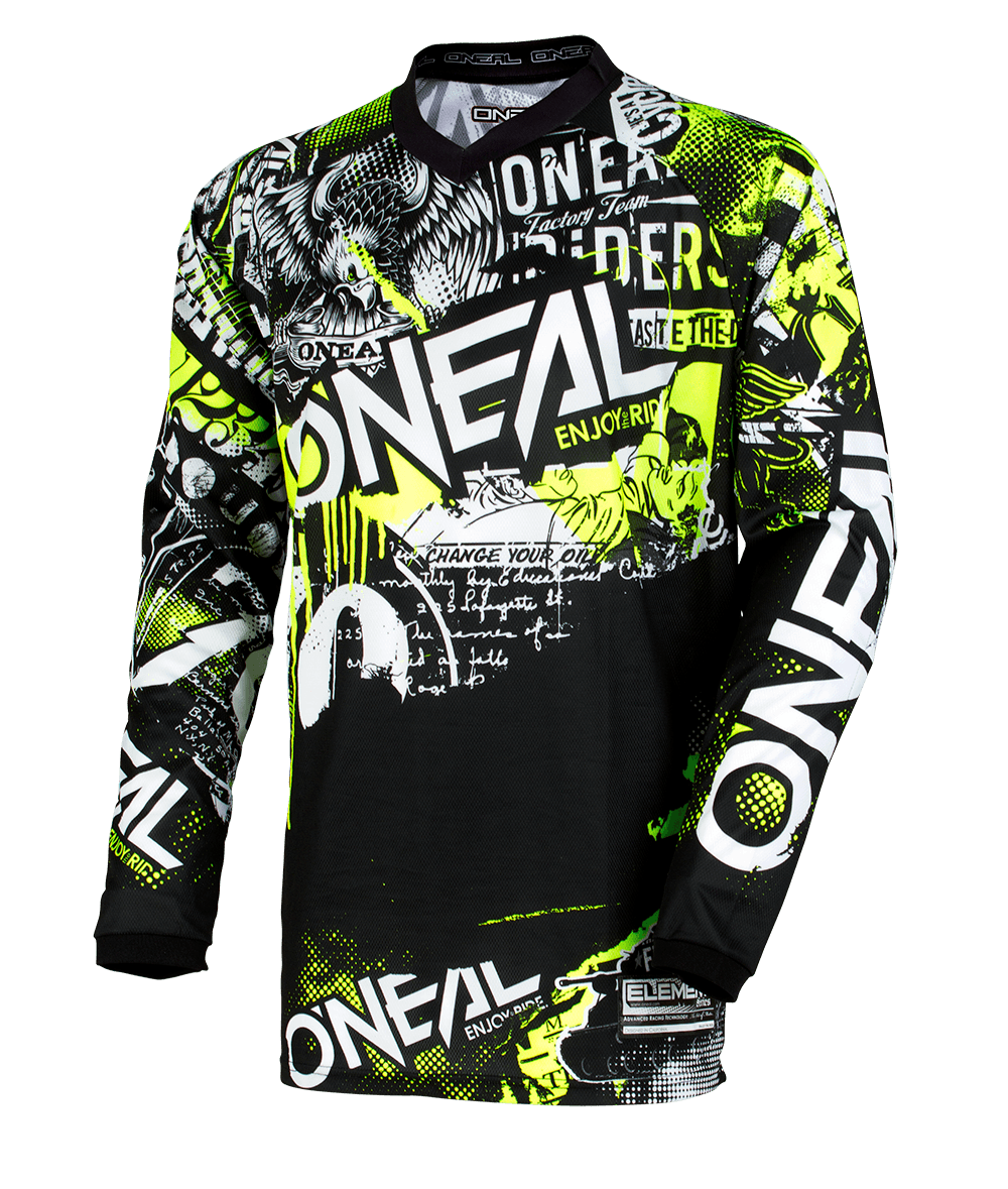 Maglia O'Neal maniche lunghe ELEMENT Attack BLACK/NEON YELLOW