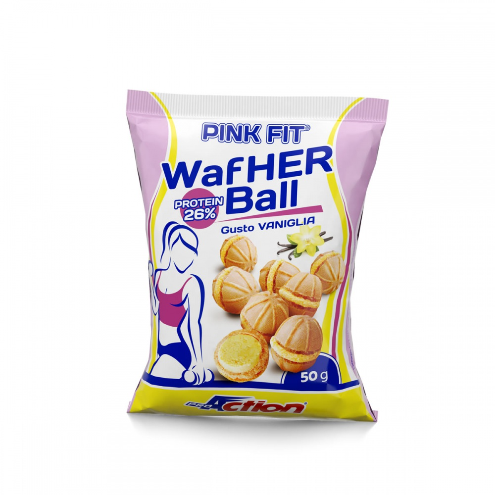 ProAction PINK FIT WAFHER BALL Vaniglia - Busta 50 gr.