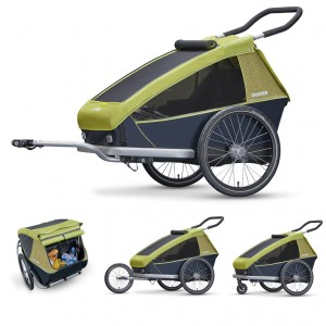Rimorchio bambini Croozer (E) 2018 - Kid for 2, verde lim. biposto