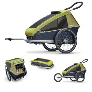 Rimorchio bambini Croozer (E) 2018 - Kid for 1, verde lim. monoposto