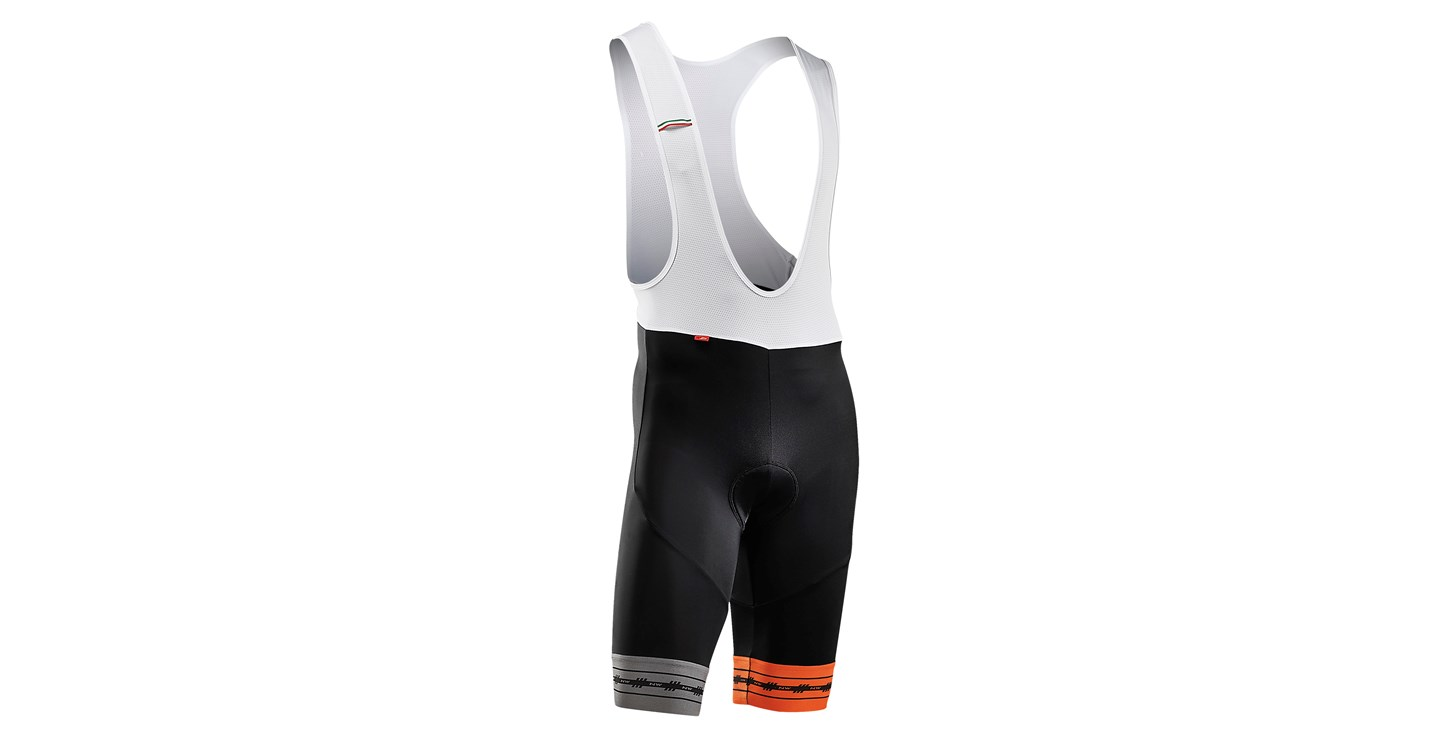 Pantaloni Corti a Salopette Northwave Wingman Bibshorts BLACK-ORANGE