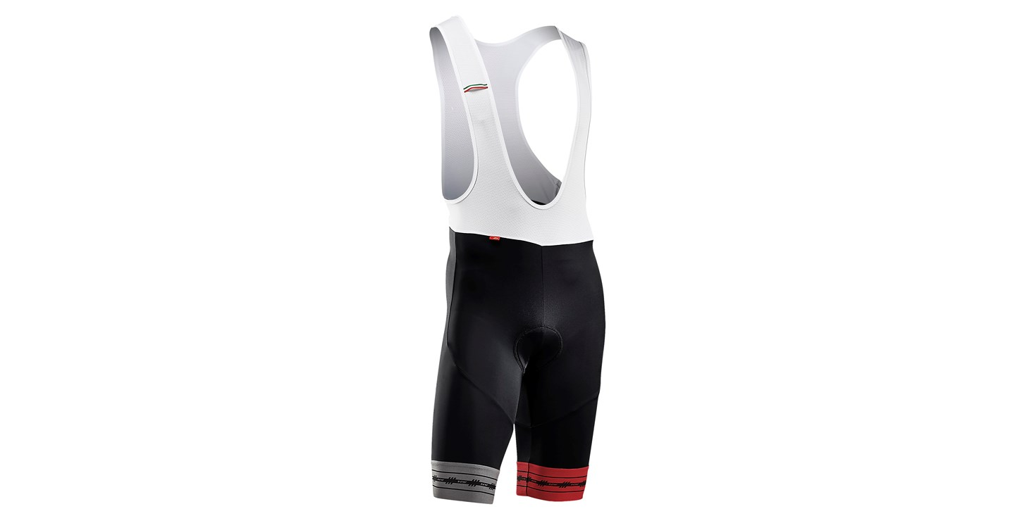 Pantaloni Corti a Salopette Northwave Wingman Bibshorts BLACK-RED