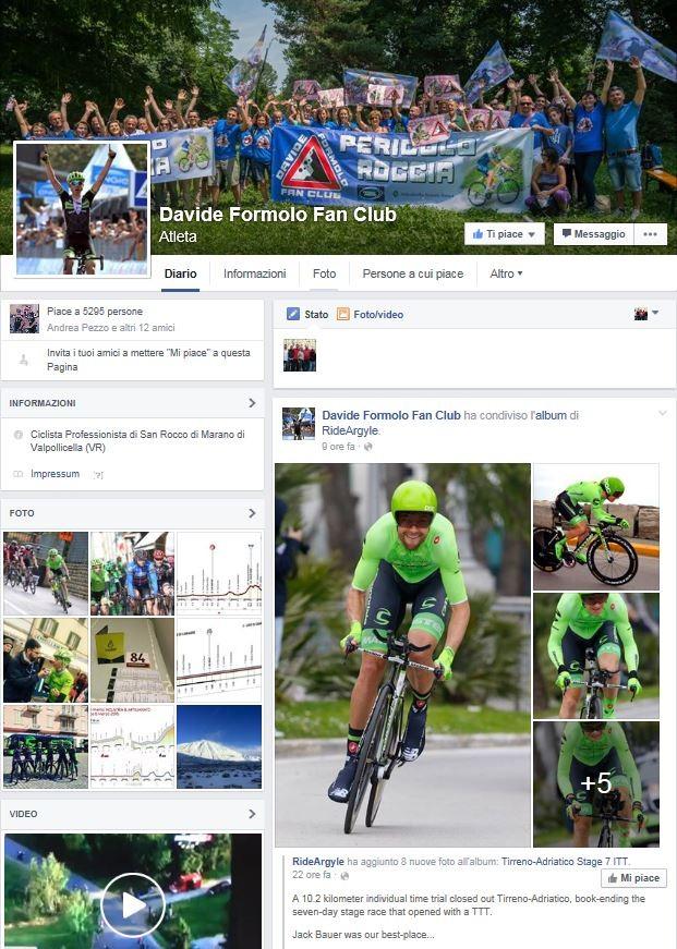 Pagina Facebook - Davide Formolo Fan Club